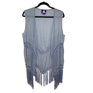 Curations Caravan Blue Crochet Long Vest Size XL